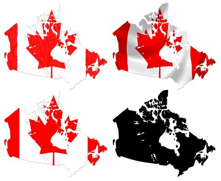 Canada flag over map collage photo
