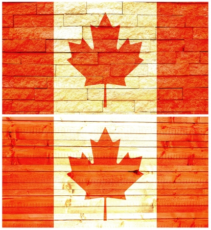 Vintage wall flag of Canada collage photo