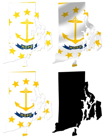 island state: US Rhode Island state flag over map collage Stock Photo