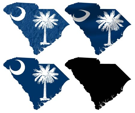 and south carolina: US South Carolina state flag over map collage