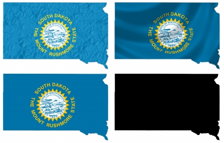 US South Dakota state flag over map collage photo