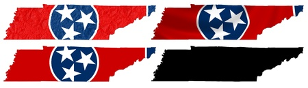 US Tennessee state flag over map collage photo
