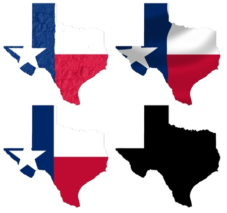 US Texas state flag over map collage photo