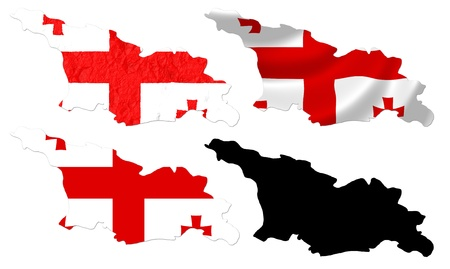georgia flag: Georgia flag over map collage
