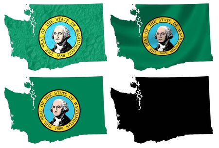 US Washington state flag over map collage photo
