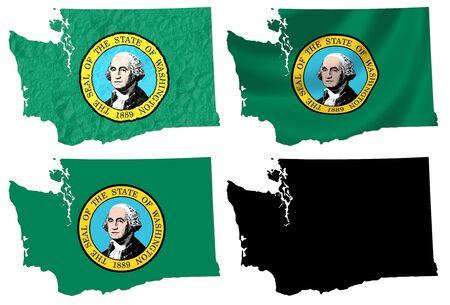 george washington: US Washington state flag over map collage