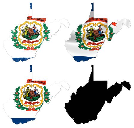 US West Virginia state flag over map collage photo