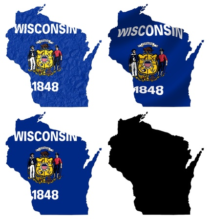 wisconsin flag: US Wisconsin state flag over map collage