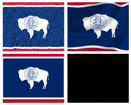 US Wyoming state flag over map collage photo