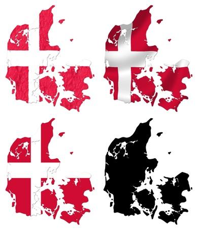 denmark flag: Denmark flag over map collage Stock Photo