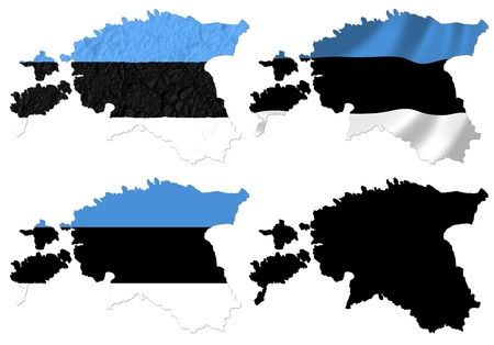 scrunch: Estonia flag over map collage