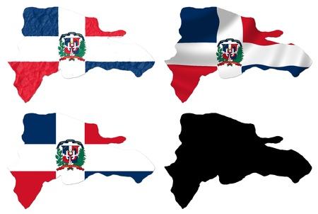 dominican republic: Dominican Republic flag over map collage Stock Photo