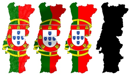 Portugal flag over map collage photo