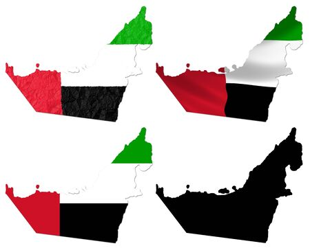arab flags: United Arab Emirates flag over map collage Stock Photo