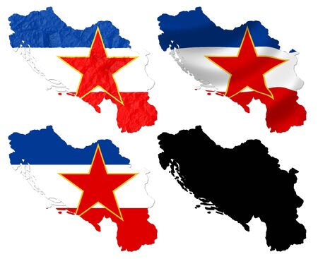 former yugoslavia: Former Federal republic of Yugoslavia flag over map collage