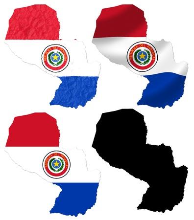 bandera de paraguay: Paraguay bandera en mapa collage