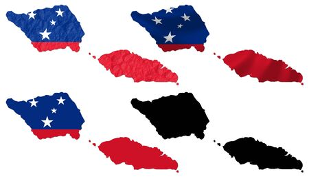 samoa: Samoa flag over map collage Stock Photo