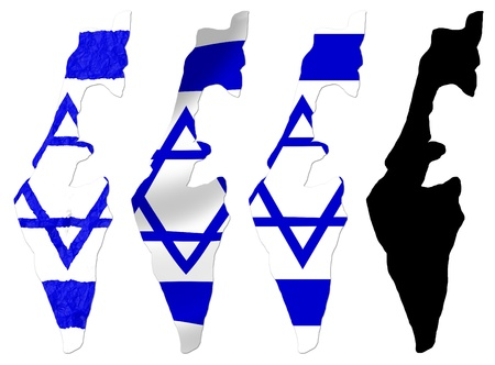 jewish star: Israel flag over map collage