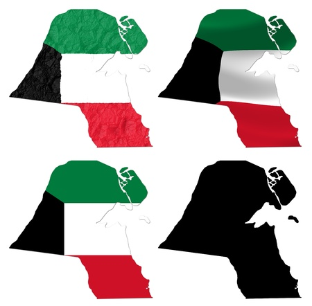 kuwait: Kuwait flag over map collage Stock Photo