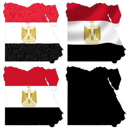 flag of egypt: Bandera de Egipto sobre el mapa collage Foto de archivo