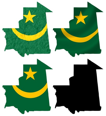 crumple: Mauritania flag over map collage