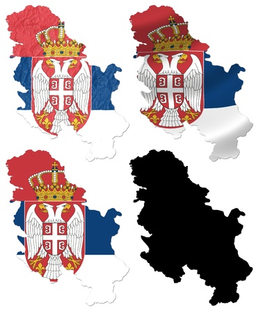 serbia flag: Serbia flag over map collage Stock Photo