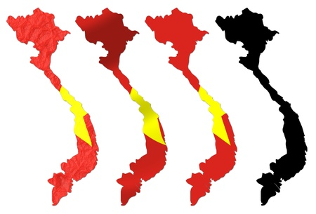 vietnam flag: Vietnam flag over map collage Stock Photo