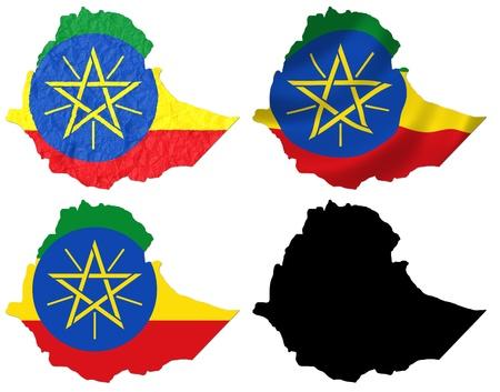 ethiopia: Ethiopia flag over map collage