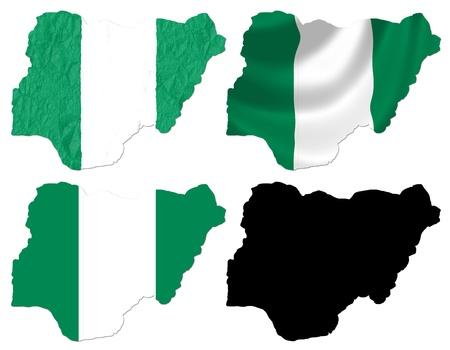 blacks: Nigeria flag over map collage