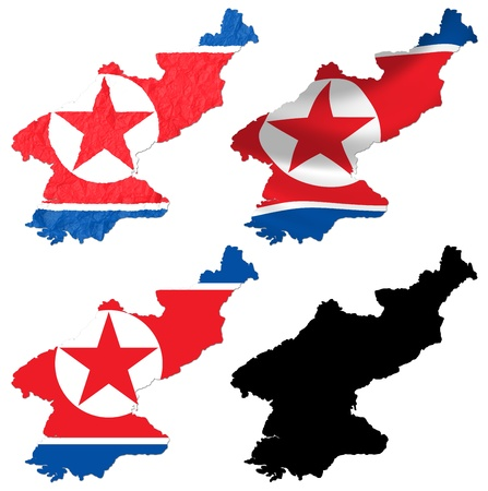 crumple: North Korea flag over map collage