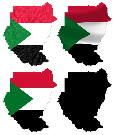 sudan: Sudan flag over map collage