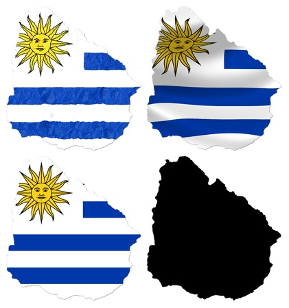 uruguay: Uruguay flag over map collage Stock Photo