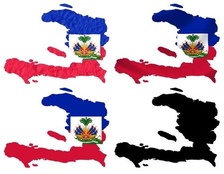 haiti: Haiti flag over map collage