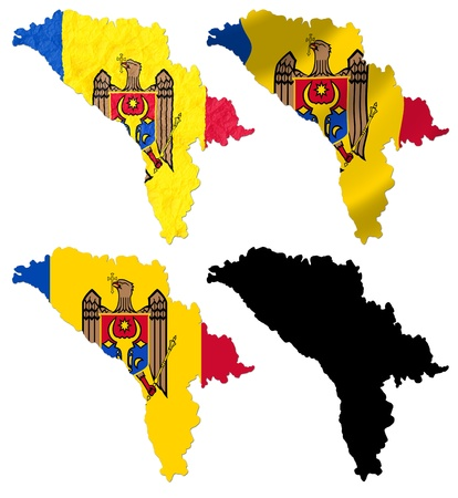 Republic of Moldova flag over map collage photo