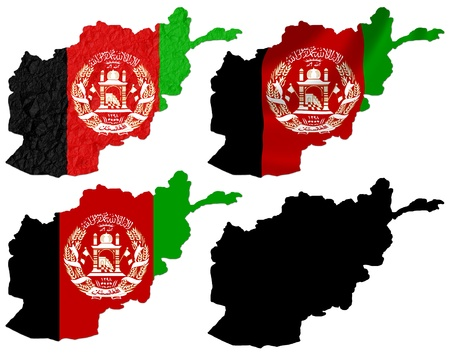 afghanistan: Afghanistan flag over map collage Stock Photo