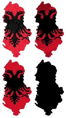 Albania flag over map collage photo