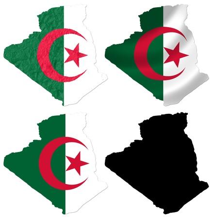 algeria: Algeria flag over map collage Stock Photo