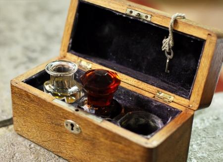 anointed: Baptism myrrh in a vintage church box