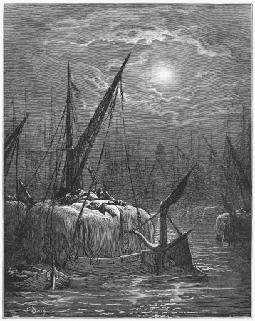Hay boats on the Thames - Gustave Dore s 1872 London  a Pilgrimage Editorial