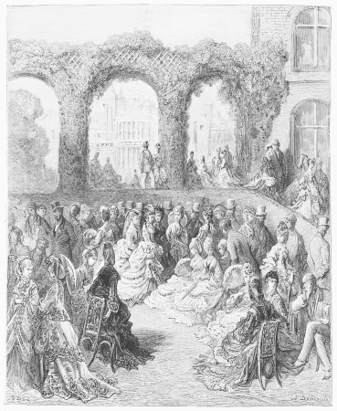 19th century: Holland House - A Garden Party - Dore s 1872 London  a Pilgrimage