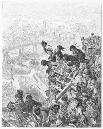 putney: The Boat Race  Putney Bridge, the Return - Gustave Dore s 1872 London  a Pilgrimage Editorial