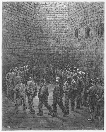 prison yard: Newgate ,Exercise Yard - Gustave Dore s London  a Pilgrimage