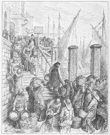 19th: Billingsgate, landing the fish - Gustave Dore s London  a Pilgrimage