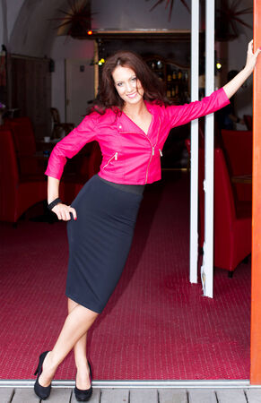 At the club door woman photo
