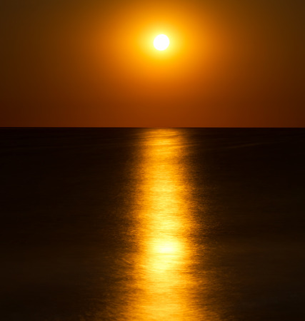 over the sea: Abstract full moon scene over the sea