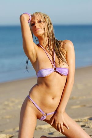 Sexy girl on beach wearing purple bikini Stock Photo - 3047855