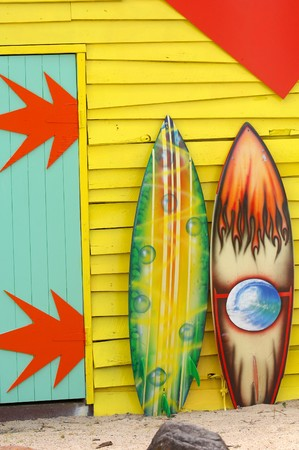 Colorful painted surfboards
