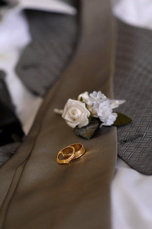 boutonniere: Wedding rings & boutonniere