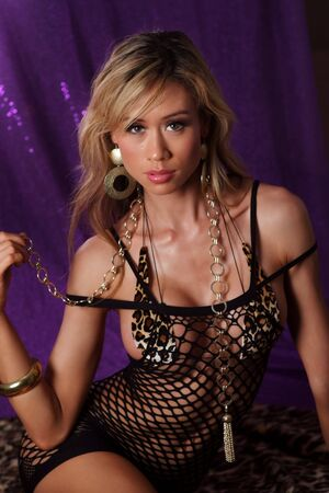y asian girl posing in black lingerie Stock Photo - 4332968