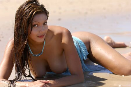 adult breast: Sexy topless woman on beach